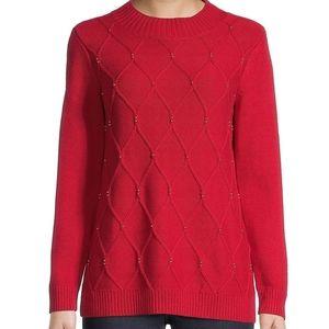 Karen Scott Beaded Cable-Knit Mockneck Sweater